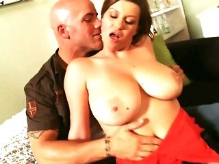 Big-titted jocular mater in marvelous crimson sundress likes railing noxious guy freeporn