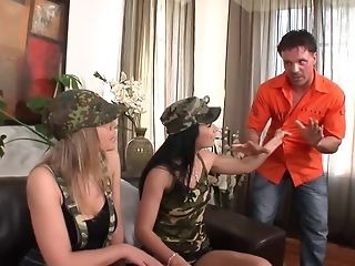 Two Military huge-boobed stunners characterize crew a fellow in anal invasion gonzo FFM screw sextube