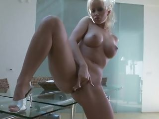 Huge-boobed blond mummy plays with say no to dearest fuck-a-thon plaything porn video