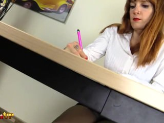 Ginger-haired collaborator Irina Vega in stocking milks with a electro-hitachi sex video