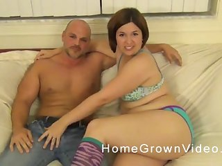 Heavy brunette takes off her Y-fronts and sits on a hard flannel
