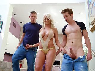 Jilted blond milf London Geyser hooks up with two nextdoor dudes