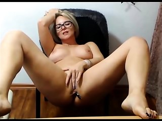 Mature blonde solo masturbation